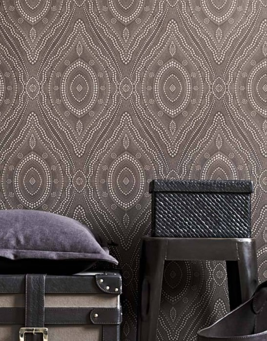 Wallpaper Salus Matt Pearl damask Light grey brown Pale grey brown Grey white