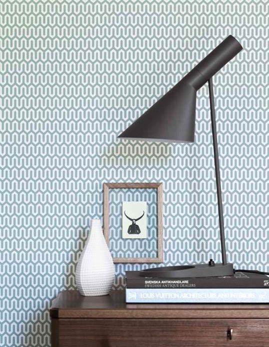 Geometric Wallpaper Wallpaper Hermod mint grey Room View