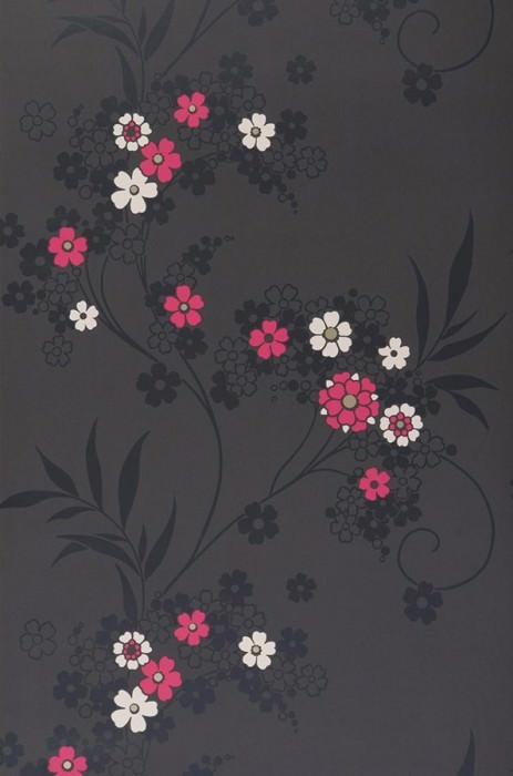 Wallpaper Joyce Matt Flowers Anthracite Pink Black White