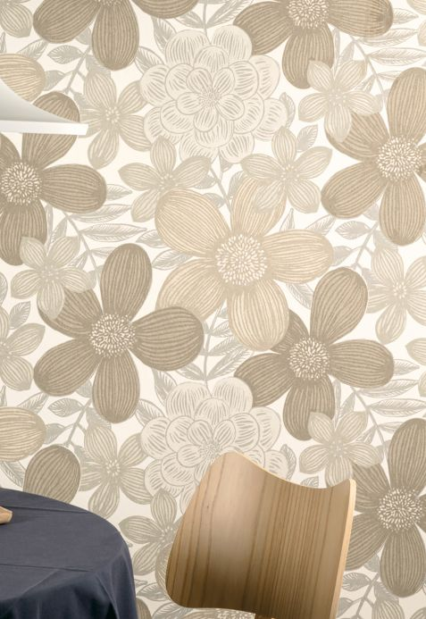 Papel de parede floral Papel de parede Othilia cinza pardo Ver ambiente
