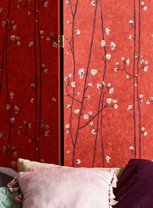 Floral Wallpaper Wallpaper VanGogh Branches red Room View