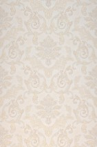 Papel pintado Obadia Patrón brillante Superficie base mate Damasco floral Blanco crema Crema Oro brillante