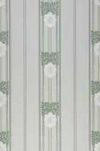 Papel de parede Imke Efeito estampado à mão Mate Folhas Flores Art nouveau Listas Verde esbranquiçado Verde pinho Verde pera Branco