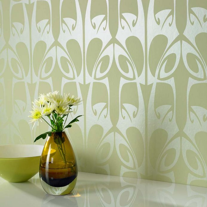 Archiv Wallpaper Megamba pale green Room View