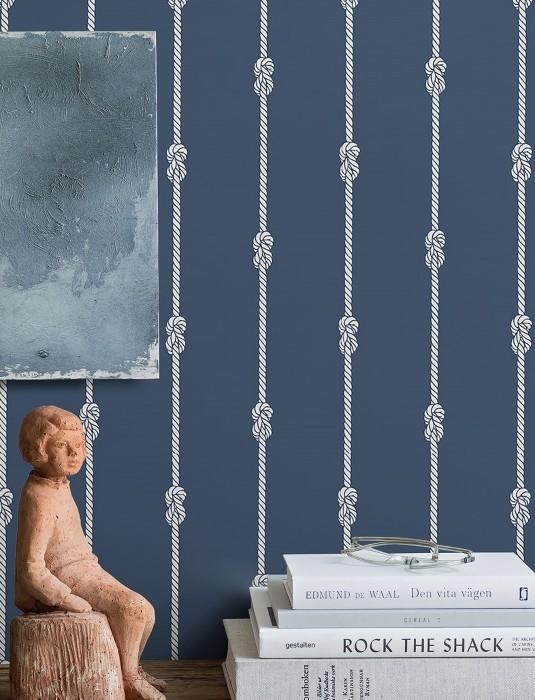 Wallpaper Fabian Matt Knots Ropes Stripes Dark blue White