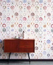 Wallpaper Porcellain 01 Matt Porcelain plates White Blue Green Red