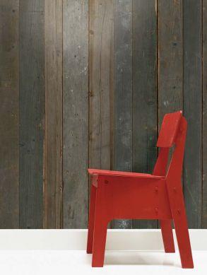 Papel pintado Scrapwood 04 gris parduzco Ver habitación