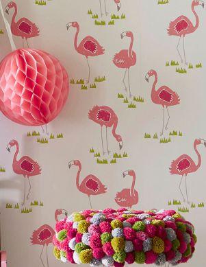 Papel pintado Flamingo Oasis rosa viejo Ver habitación