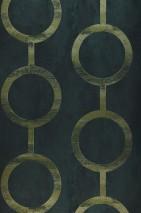 Wallpaper Florin Matt Geometrical elements Circular pattern Pine green Black green Reed-green shimmer Fir tree green