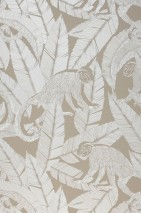Wallpaper Arlo Shimmering pattern Matt base surface Monkeys Leaves Light grey beige Cream shimmer White