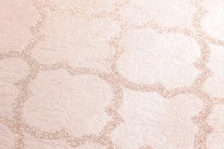 Papel pintado Ginevra Brillante Damasco oriental Palo de rosa pálido Crema