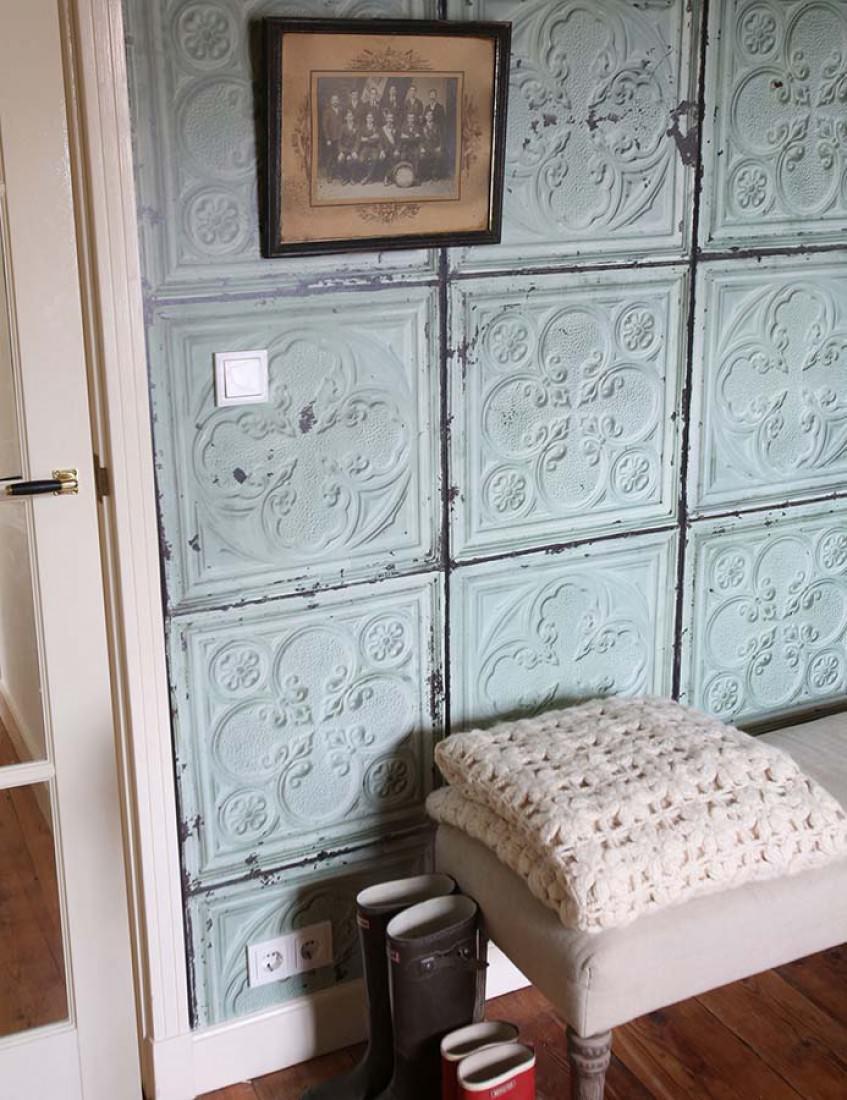 papier peint brooklyn tins 05 vert blanc gris gris noir papier peint des ann es 70. Black Bedroom Furniture Sets. Home Design Ideas