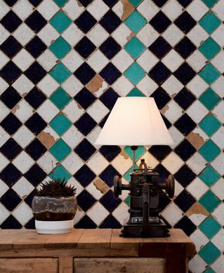 Papier peint Tourquoise chess turquoise Vue pièce