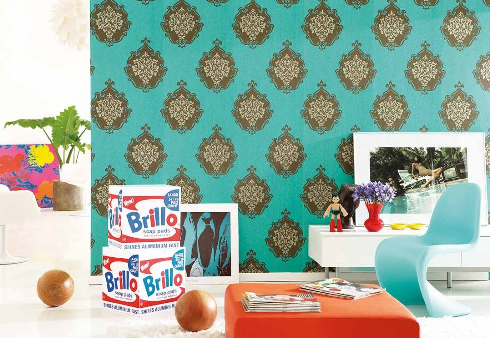 Archiv Wallpaper Frowe mint turquoise Room View