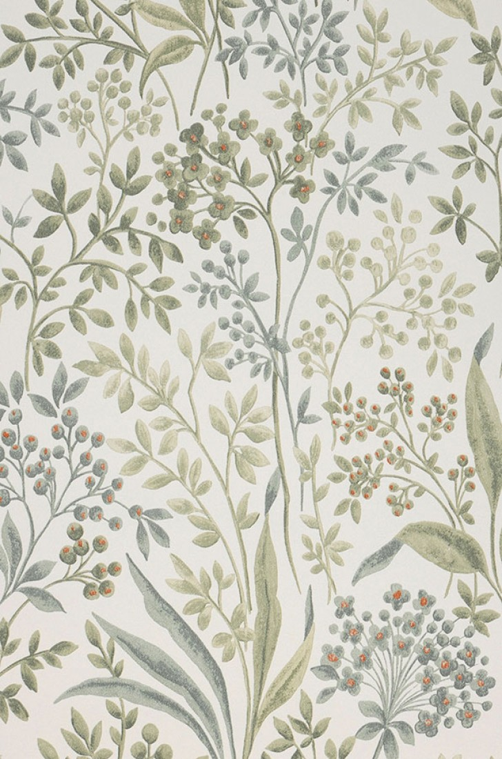 Wallpaper Pilar Cream Shades Of Green Orange Red Wallpaper