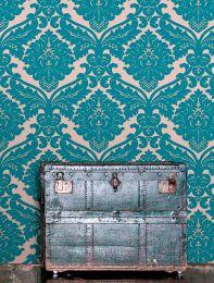 Papel de parede Samanta azul turquesa