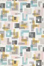 Wallpaper Felipe Matt Graphic elements Retro elements Cream Pale pink Mint turquoise Sand yellow Black grey