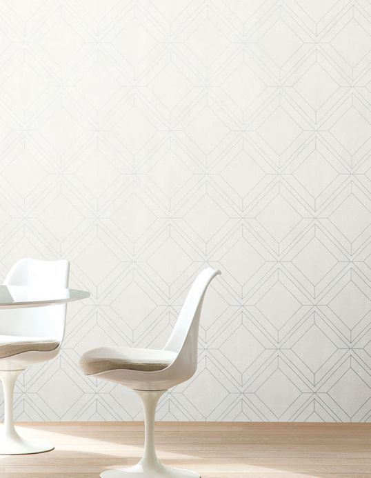 Geometric Wallpaper Wallpaper Malekid white Room View