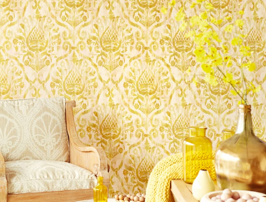 Wallpaper Esiko Matt Floral damask Pale pink Cream Beige Curry yellow Green beige