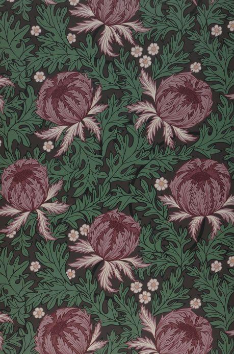 Papel pintado floral Papel pintado Ardassa violeta oscuro Bahnbreite