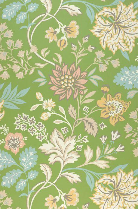 Papier peint floral Papier peint Ebba vert petit pois Largeur de lé