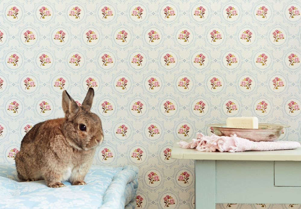 Papel pintado clásico Papel pintado Nissi rosa Ver habitación