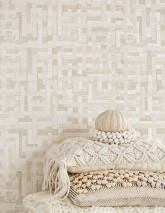 Wallpaper Masai Hand printed look Matt African style Graphic elements Cream Beige grey Cream shimmer Light grey beige