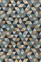 Papel pintado Saki Mate Triángulos Oro mate Gris menta Gris negruzco