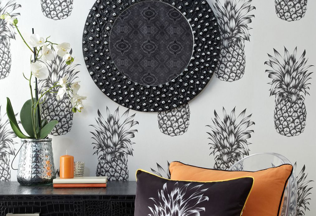 Papel de parede divertido Papel de parede Pineapple Paradise cinza negrusco Ver quarto
