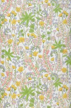 Wallpaper Cybill Matt Field flowers White Heather violet Yellow green Rape yellow Violet-blue shimmer