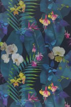 Wallpaper Zoe Matt Leaves Blossoms Black blue Shades of blue Yellow green Light violet Turquoise White