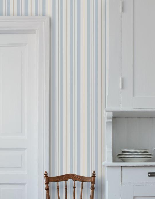 Papel pintado rayas Papel pintado Willa azul celeste Ver habitación