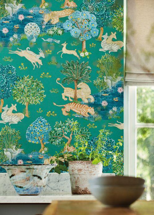 Papier peint classique Papier peint Sumatra turquoise Vue pièce