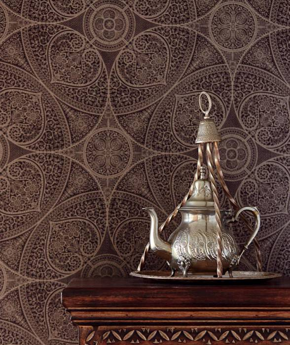 Wallpaper Kassandra Shimmering pattern Matt base surface Floral damask Geometrical elements Grey brown Pearl beige