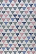 Wallpaper Masell Matt Triangles Grey white Pale red violet Brilliant blue Patina green