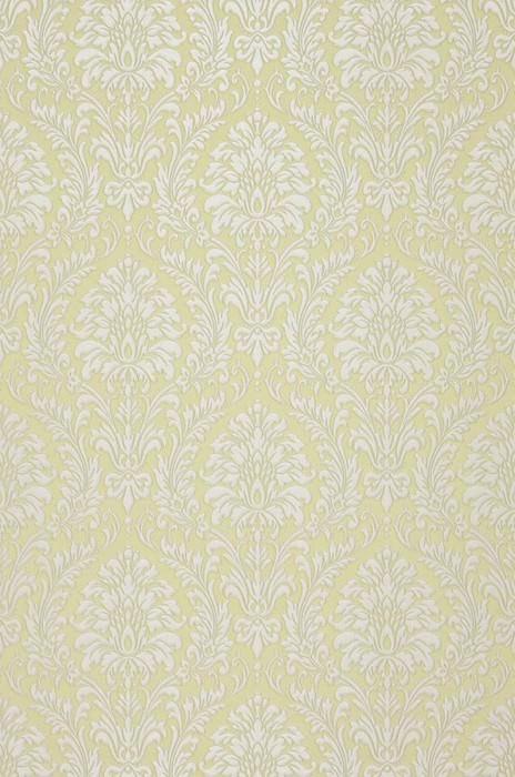 Wallpaper Sedan Shimmering pattern Looks like textile Matt base surface Baroque damask Yellow green Grey white shimmer