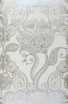 Wallpaper Lawal Iridescent pattern Matt base surface Modern damask Stylised flowers White Blue white pearlescent Light ivory pearl lustre Silver shimmer