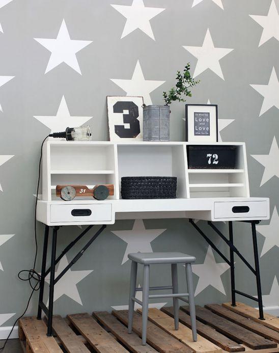 Children's Wallpaper Wallpaper Stars stone grey Room View