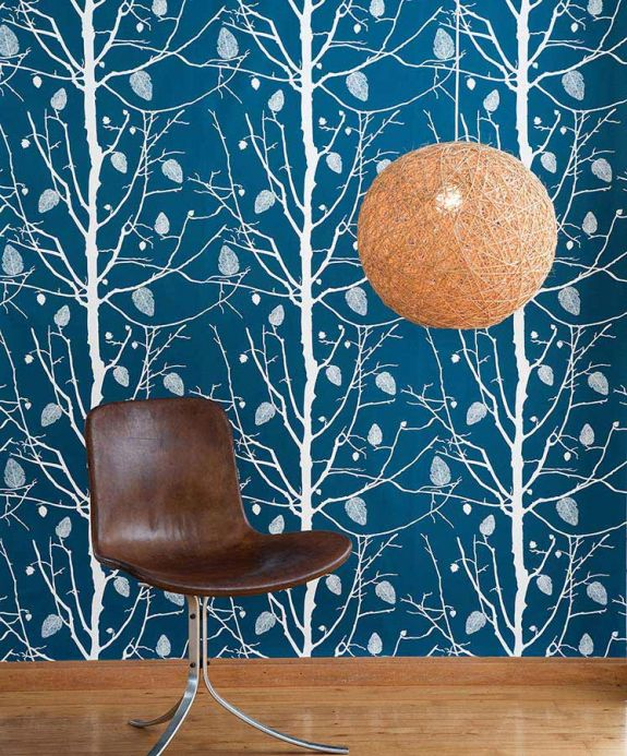 Archiv Wallpaper Family Tree petrol Room View