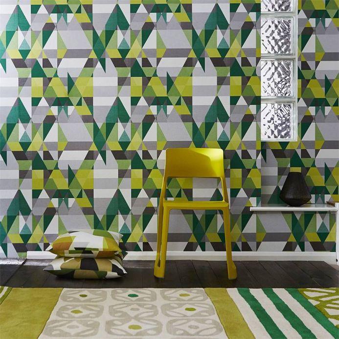 Geometric Wallpaper Wallpaper Zewana green Room View