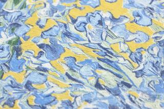 Papel de parede VanGogh Irisis Mate Flores Amarelo Azul brilhante Azul safira Verde esmeralda Branco