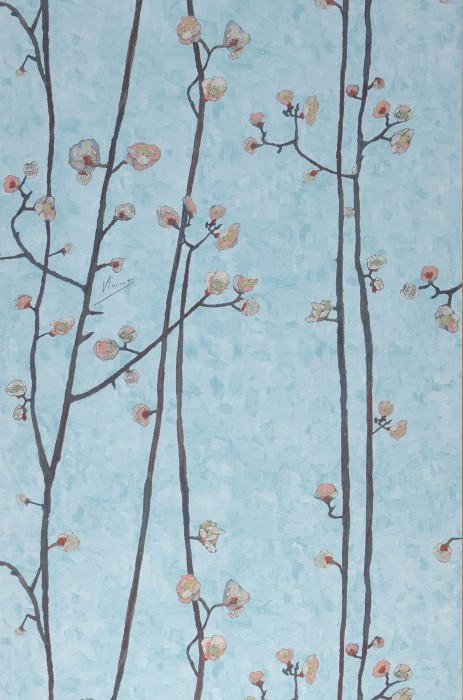 Wallpaper VanGogh Branches Matt Branches with blossoms Light pastel turquoise Antique pink Grey brown Grey white Green yellow