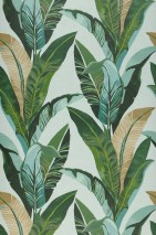 Wallpaper Lasita Matt Leaves Green white Shades of green Mint turquoise
