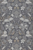 Wallpaper Leyla Matt Floral Elements Birds Slate grey  Beige Grey tones