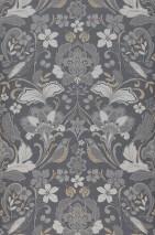 Carta da parati Leyla Opaco Elementi floreali Uccelli Ardesia grigio Beige Toni di grigio