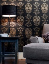 Wallpaper Dia de los Muertos Shimmering pattern Matt base surface Floral Elements Skulls Black Gold