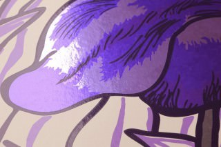 Wallpaper Iris Chrome effect Shimmering Lilies Cream Chrome lustre Pastel violet Black violet Violet