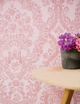 Wallpaper Nuria Matt Floral damask Ships Animals Pale pink Rosewood