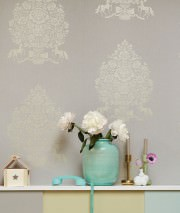 Wallpaper Sisan Shimmering pattern Matt base surface Floral damask Horses Platinum grey Pearl beige