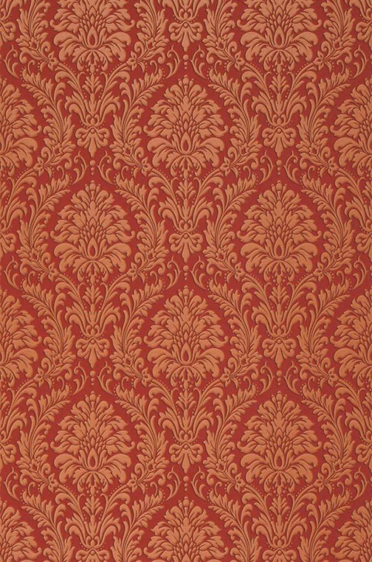 Wallpaper Sedan Shimmering Pattern Looks Like Textile Matt Base Surface Baroque Damask Ruby Red Orange Brown Roll Width